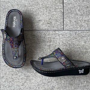 Never Worn: Algeria multi colored mosaic sandals